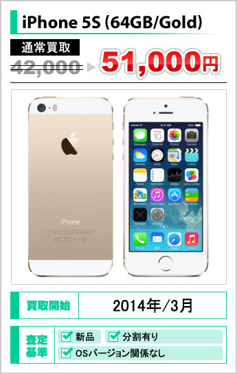 iPhone 5S(64GB/Gold) 通常iPhone買取42,000円→51,000円